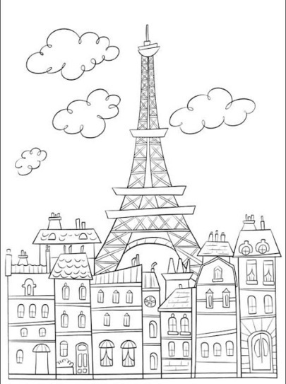 Coloriage - Paris | FLE enfants | Scoop.it