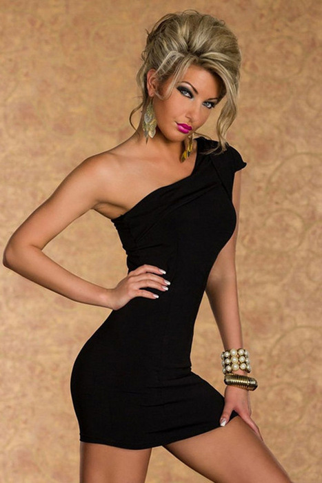 Elegant Glamorous Curve One-Shoulder Cocktail Dress for Party-Black | Refind Sexy Lingerie,Adult Erotic Clothes Shop Free Shipping | Scoop.it