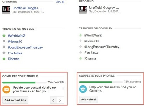 Google+ prompts for profile completeness similar to LinkedIn! | Google+ Marketing All News | Scoop.it