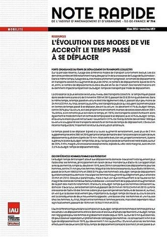 Ile-de-France - L'évolution des modes de vie accroît le temps passé à se déplacer | Dernières publications des agences d'urbanisme | Scoop.it