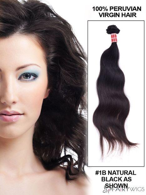 "12""-30"" Body Wave Peruvian Virgin Hair Extension Weft - Natural Black : fairywigs.com | Hair Extensions | Scoop.it"