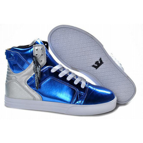 New Supra Skytop High Tops Blue Sliver White Men Shoes | fashion list | Scoop.it