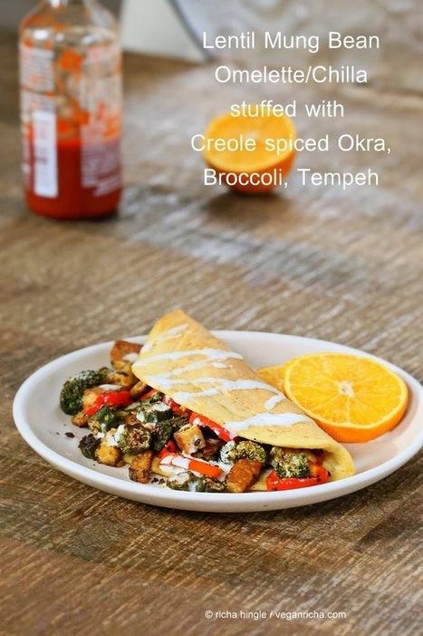 Lentil Mung Bean Omelette - Dal Chilla with Blackened Okra Tempeh Broccoli & Havarti. Vegan Gluten-free Recipe | Vegan Richa | My Vegan recipes | Scoop.it