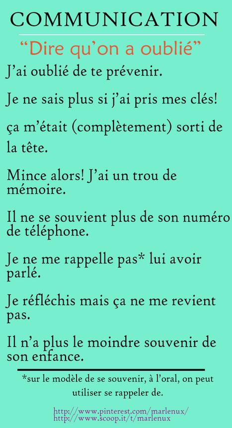 Communication: Dire qu'on a oublié | Français Langue Étrangére FLE | Scoop.it