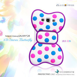 Cute 3D Bowknot Blue Dot Purple Frame Soft Skin Case Cover for Samsung I9300 Galaxy S3   here are some good goods form tobuygoods   Scoop.it