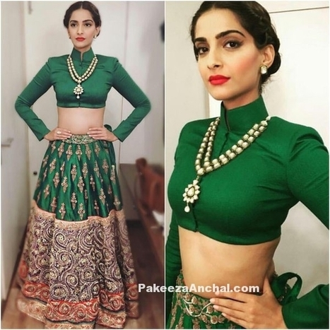 Sonam Kapoor in Green Collar blouse and embellished Lehenga in Prem Ratan Dhan Payo Look | Beauty, Fashion & Photography | Scoop.it