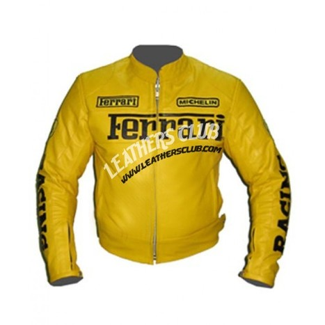 Yellow Color Ferrari Biker Leather Jacket   Men's Leather Jackets   Scoop.it