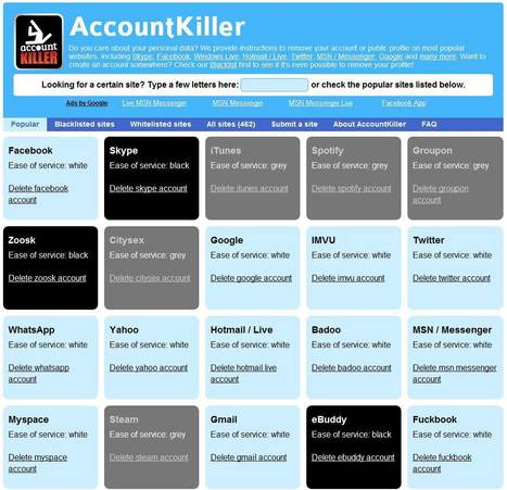 Trouver les liens de désinscription des services Web, Account Killer | Time to Learn | Scoop.it