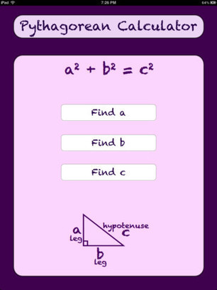 Pythagorean Calculator for iPhone 3GS, iPhone 4, iPhone 4S, iPod touch (3rd generation), iPod touch (4th generation) and iPad on the iTunes App Store | iPads in Education Daily | Scoop.it