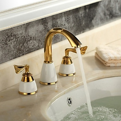 Brass Ti-PVD Finish Widespread Bathroom Sink Faucet - Faucetsmall.com | Bathroom Sink Faucets or Kitchen Faucets | Scoop.it