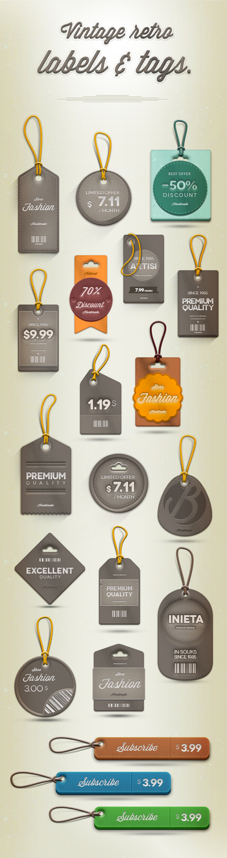Download Vintage Retro Labels Psd file | The Official Photoshop Roadmap Journal | Scoop.it