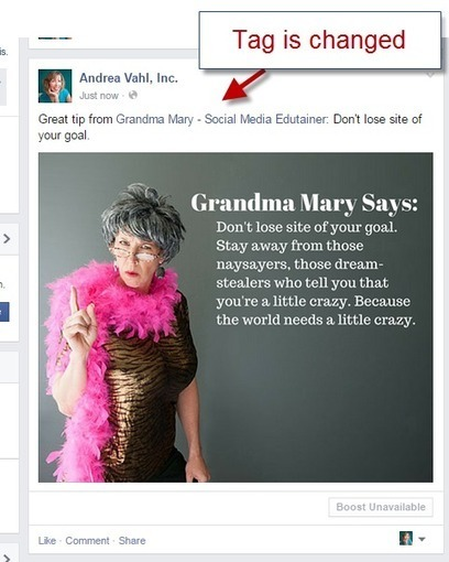 Hot Tip: How to Force a Facebook Tag in an Update - Andrea Vahl | All Facebook | Scoop.it