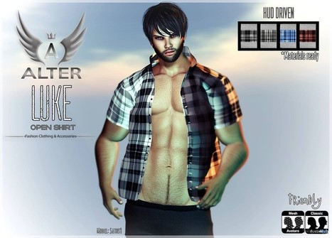 Luke Open Shirt with Texture HUD Group Gift by ALTER | Teleport Hub - Second Life Freebies | Second Life Freebies | Scoop.it