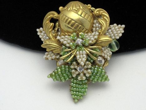 STANLEY HAGLER Vintage  Seed Bead Rhinestone Floral Brooch | Designer Jewels on the Red Carpet | Scoop.it