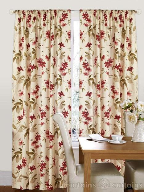 Amazon Red & Cream Floral Pencil Pleat Curtain | Which colour should be chosen for window curtains | Scoop.it