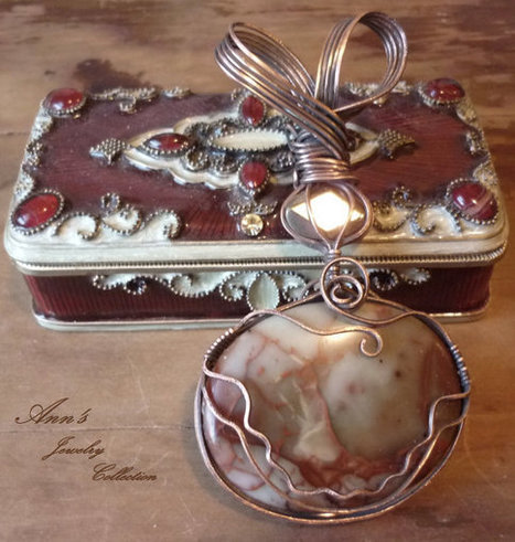 Gorgeous Golden Red Jasper and Pyrite Antiqued Copper Pendant | Ann's Jewelry Collection | Scoop.it