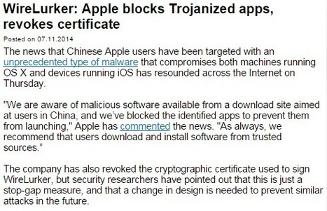 WireLurker: Apple blocks Trojanized apps, revokes certificate | Apple, Mac, MacOS, iOS4, iPad, iPhone and (in)security... | Scoop.it