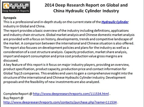 2014 Global & China Hydraulic Cylinder Market – Competition, Opportunities & Threats | Deep Market Analysis | Scoop.it
