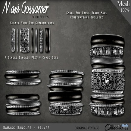 Bangles Damasc SILVER V2 July 2015 Group Gift by Maxi Gossamer | Teleport Hub - Second Life Freebies | Second Life Freebies | Scoop.it