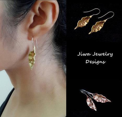 Nature Earring,Leaf Earrings,Thai Handmade, Earrings silver,Earrings handmade,Earrings Wedding,Earrings bronze | Handmade Jewelry | Scoop.it