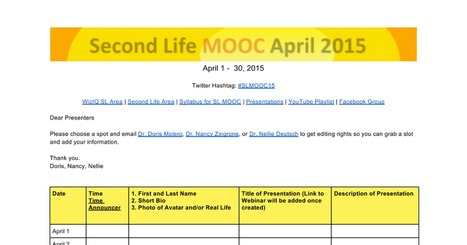 Second Life MOOC April 2015 | eduMOOC 4 ALL | Scoop.it