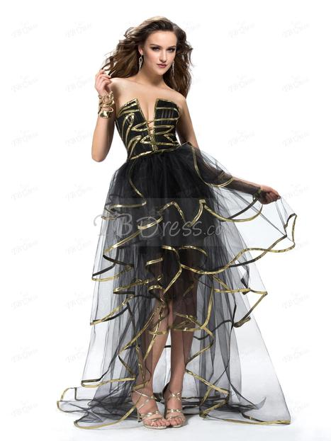 $ 143.89 Sexy A-line Asymmetry Zipper-Up Sweep Train Tiered Prom Dress Designed Independently   one-piece dress   Scoop.it