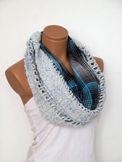 Infinity Scarf Block Scarf Knit and Crochet Block Infinity Scarf  - Women's Fashion Accessories,Turquoise,Black,White scarf, | fashion | Scoop.it