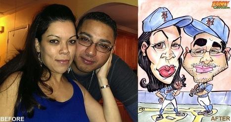 Our latest caricature Baseball Couple Caricature | Custom Caricatures | Scoop.it