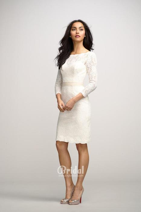 Chic Ivory Boat Neck Lace Knee Length Bridesmaid Dress with 3/4 Sleeves   Little White Bridesmaid Dresses 2014   Scoop.it
