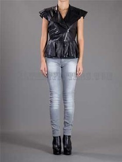 Women Leather Peplum Pleated Sleeves Top | Leather Apparels World-Wide | Scoop.it