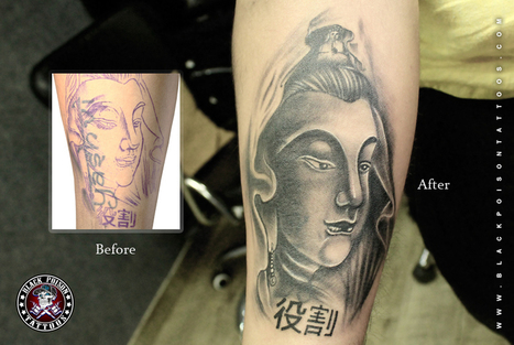 Amazing Cover Up Tattoo with Lord Buddha Tattoo   Black Poison Tattoos   Scoop.it