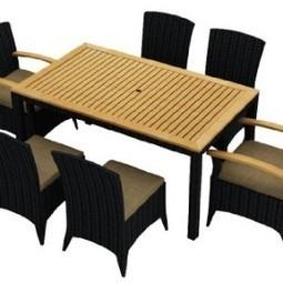 Harmonia Living Arbor 7 Piece Modern Outdoor Wicker Dining Set with Tan Sunbrella Cushions (SKU HL-AR-7DN-HB) | Furniture Shoppy | Best Patio Furniture Sets | Scoop.it
