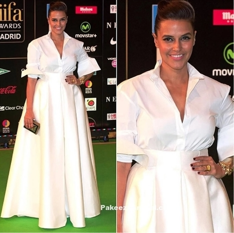 Neha Dhupia in Retro style White H&M Gown @IIFA 2016 | Indian Fashion Updates | Scoop.it
