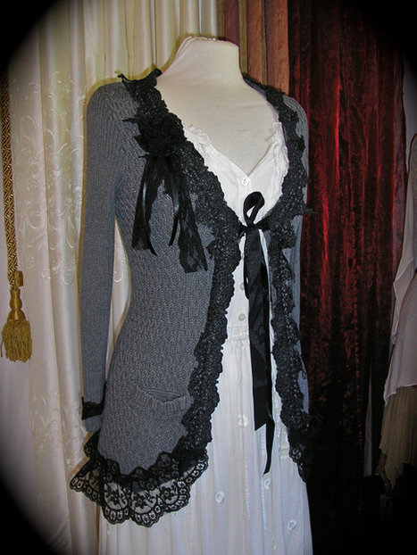 Bohemian Sweater Coat, gray grey black lace embellished, upcycled altered couture clothing, MEDIUM   refashioned clothing   Scoop.it