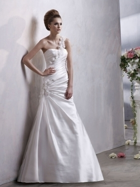 A-line One Shoulder Elastic Woven Satin Court Train Flower(s) Wedding Dresses at Millybridal.com | wedding and event | Scoop.it