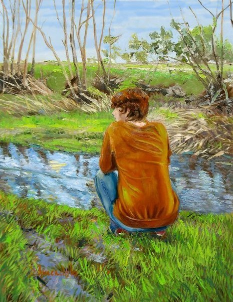 Bird watching by the creek, oil painting, figures painting, impressionism, monet, | Dominique Amendola Figures Painting and Spiritual Fine Art | Camping | Scoop.it