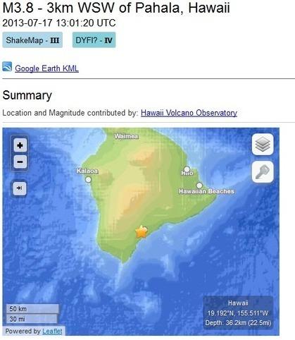 3.8 Magnitude Earthquake Shakes the Pahala Area of the Big Island ... | Wind | Scoop.it