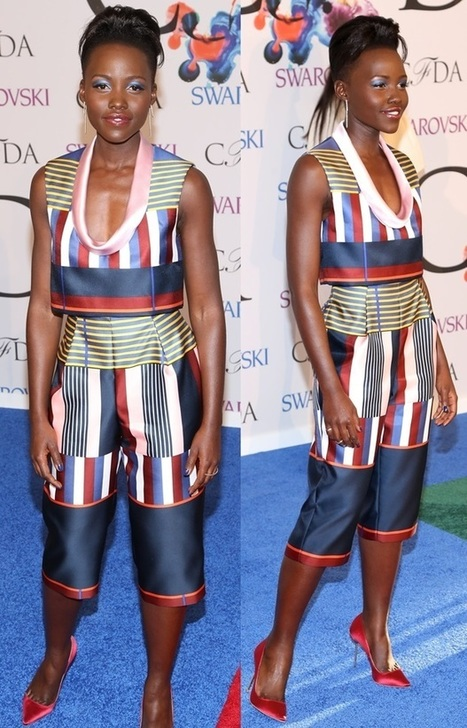 """Lupita Nyong'o in Striped Suno Outfit and Sophia Webster """"Coco"""" Satin Pumps 