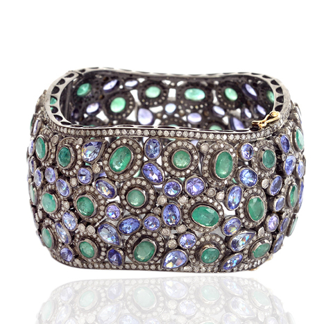 18k Gold Diamond Tanzanite Victorian Bangle | Diamond Jewelry | GemcoDesigns | Pave Diamond Bangle | Diamond Jewelry | GemcoDesigns | Scoop.it
