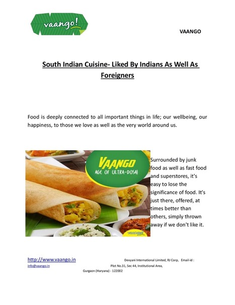 South Indian Cuisine- Liked By Indians As Well As Foreigners | Restaurants | Scoop.it