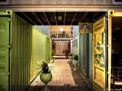 """Shipping container """"cities"""" bring creative, funky approach to green construction 