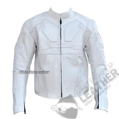 Men handmade white Tom Cruise Oblivion Movie Motorcycle Leather Jacket | movie leather jackets | Scoop.it