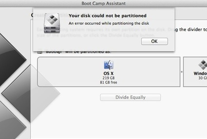 """A solution to """"Your disk could not be partitioned"""" error on Boot Camp Assistant 