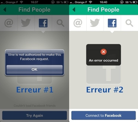 Facebook bloque la recherche de contacts de l'app Vine iOS | Toulouse networks | Scoop.it