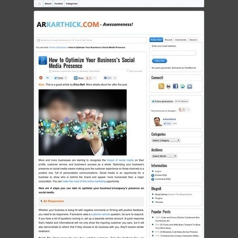 How to Optimize Your Business's Social Media Presence | Ex Abrupto - Marketing, Communication & Social Media | Scoop.it