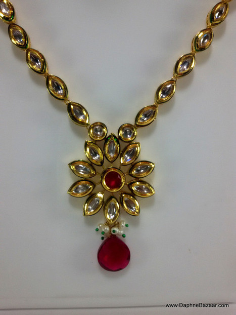 Indian Kundan Jewelry - Traditional Kundan Necklace Set with Ruby Shade Stones | Ruby AD Pendant and Earrings | Scoop.it