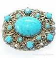 Vintage West Germany Turquoise Blue Rhinestone Pearl Gold Filigree Pin items in VINTAGE JEWELRY TREASURES store on eBay! | Unique Vintage Costume Jewellery | Scoop.it