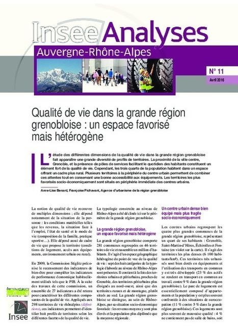 Grenoble - Qualité de vie dans la grande région grenobloise : un espace favorisé mais hétérogène | Dernières publications des agences d'urbanisme | Scoop.it