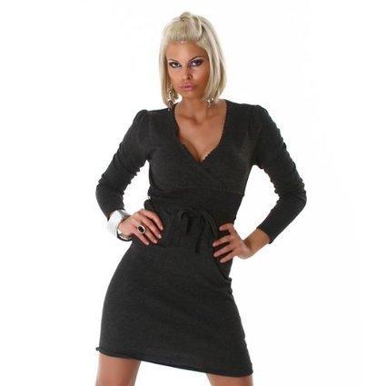 ###   Langarm Minikleid Strickkleid Dunkel Grau Gr.36 (Sammy) | Pullover Damen Günstig | Scoop.it