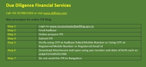 New procedure for online ITR filing | Due Diligence Financial Services | Company Registration in Delhi | Scoop.it